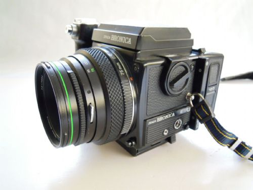 Bronica ETRSi Camera with 75mm lens, 120 Mag, Waist level finder and Grip